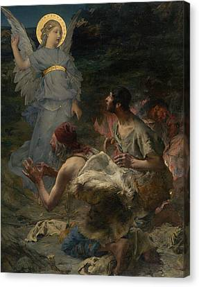 Super Girl Canvas Print - The Annunciation To The Shepherds by Jules Bastien-Lepage