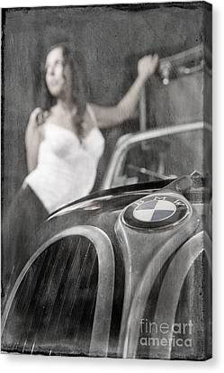 Canvas Print featuring the photograph The Girl On The Background Of Vintage Car. by Andrey  Godyaykin