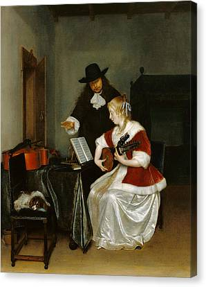 The Music Lesson Canvas Print by Gerard ter Borch