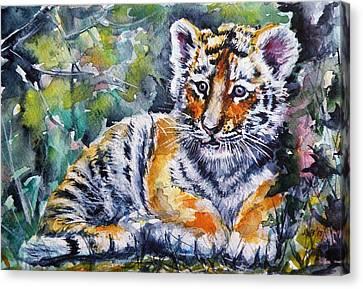 Canvas Print featuring the painting Tiger Cub by Kovacs Anna Brigitta