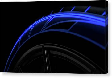 Profile Canvas Print - Tire Luminous Tread And Dark Background by Allan Swart