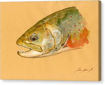 Trout Watercolor Painting Canvas Print