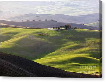 Tuscany Landscape At Sunrise Canvas Print by Michal Bednarek