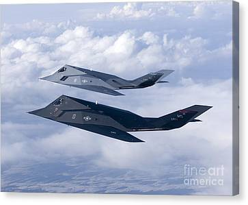 Two F-117 Nighthawk Stealth Fighters Canvas Print by HIGH-G Productions