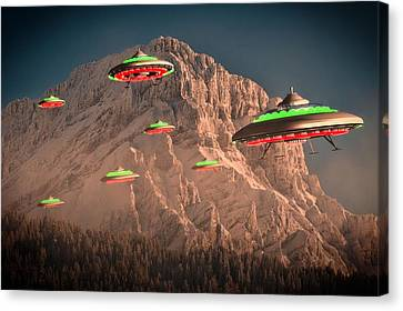 Ufo Invasion Force By Raphael Terra Canvas Print by Raphael Terra