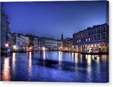 Venice By Night Canvas Print by Andrea Barbieri