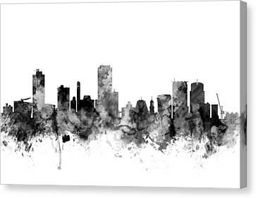 Wellington New Zealand Skyline Canvas Print by Michael Tompsett