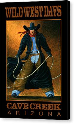 Contemporary Cowgirl Canvas Print - Wild West Days Poster/print  by Lance Headlee