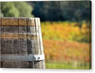Wine Barrel In Autumn Canvas Print by Brandon Bourdages