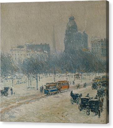 Winter In Union Square Canvas Print by Childe Hassam