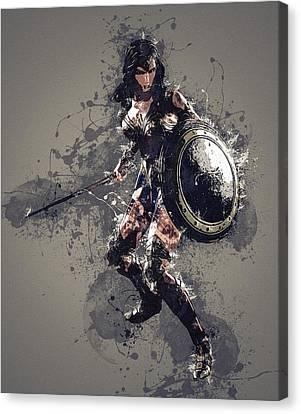Wonder Woman Canvas Print by Elena Kosvincheva