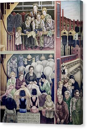 Wpa Mural. Society Freed Through Canvas Print