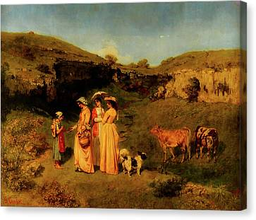 Cattle Dog Canvas Print - Young Ladies Of The Village by Mountain Dreams