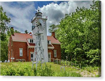 Canvas Print featuring the photograph 40 Mile Point Lighthouse by Bill Gallagher
