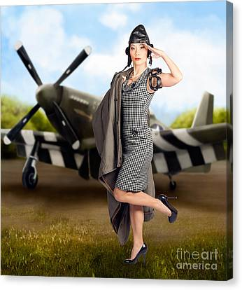40s Military Pin Up Girl. Air Force Style Canvas Print by Jorgo Photography - Wall Art Gallery