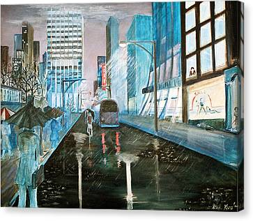 Canvas Print featuring the painting 42nd Street Blue by Steve Karol