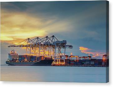Container Cargo Freight Ship Canvas Print by Anek Suwannaphoom