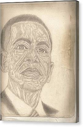 44th President Barack Obama By Artist Fontella Moneet Farrar Canvas Print by Fontella Farrar