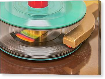 Canvas Print featuring the photograph 45 Rpm Record In Play Mode by Gary Slawsky