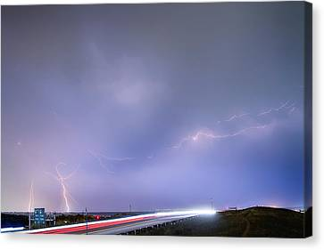 47 Street Lightning Storm Light Trails View Canvas Print by James BO  Insogna