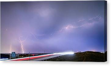 47 Street Lightning Storm Light Trails View Panorama 1 Canvas Print by James BO  Insogna