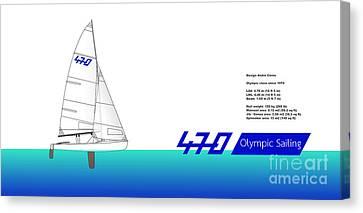 Genoa Canvas Print - 470 Olympic Sailing by Jan Brons