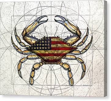 4th Of July Crab Canvas Print by Charles Harden