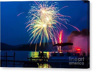 4th Of July Finger Lakes Fireworks Canvas Print by John Baumgartner