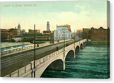 4th Street Bridge Waterloo Iowa Canvas Print by Greg Joens