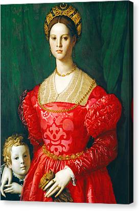 A Young Woman And Her Little Boy Canvas Print by Agnolo Bronzino