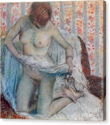 Boudoir Canvas Print - After The Bath by Edgar Degas