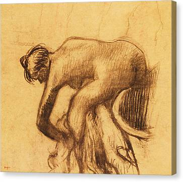 After The Bath, Woman Drying Herself Canvas Print