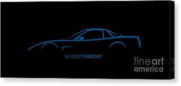 American Sports Car Silhouettehistory Canvas Print