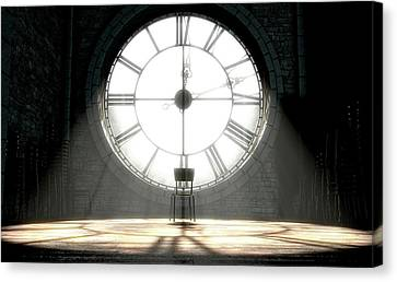 Antique Backlit Clock And Empty Chair Canvas Print by Allan Swart