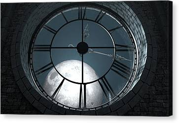 Antique Backlit Clock And Moon Canvas Print by Allan Swart