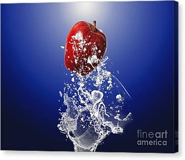 Apple Splash Canvas Print by Marvin Blaine