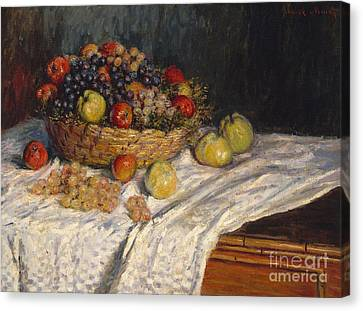 Apples And Grapes Canvas Print by Claude Monet