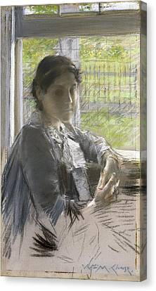 At The Window Canvas Print by William Merritt