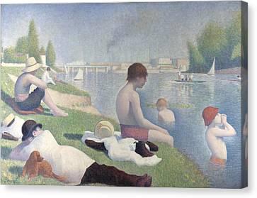 Seurat Canvas Print - Bathers At Asnieres by PixBreak Art