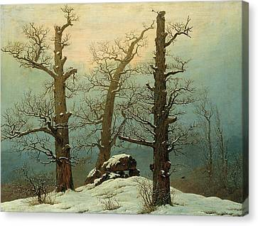 Cairn In Snow Canvas Print by Caspar David Friedrich