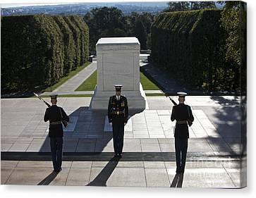 Headstones Canvas Print - Changing Of Guard At Arlington National by Terry Moore