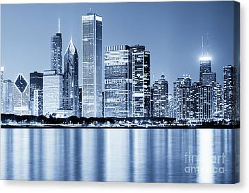 Hancock Building Canvas Print - Chicago Skyline At Night by Paul Velgos