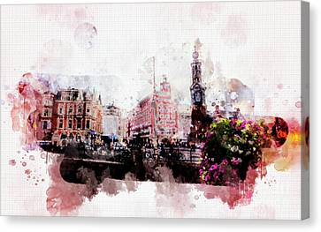 Canvas Print featuring the digital art City Life In Watercolor Style  by Ariadna De Raadt