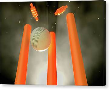 Cricket Ball Hitting Wickets Canvas Print by Allan Swart
