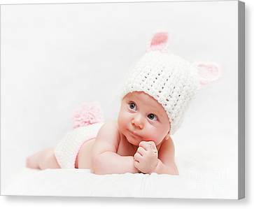 Canvas Print featuring the photograph Cute Newborn Portrait by Gualtiero Boffi