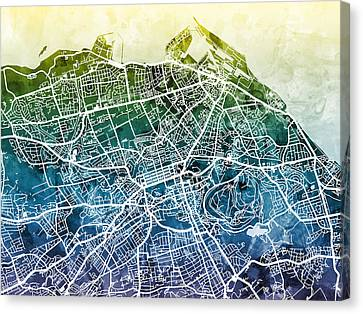 Edinburgh Street Map Canvas Print by Michael Tompsett