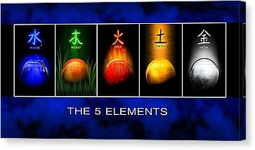 Canvas Print featuring the digital art Asian Art 5 Elements Of Tcm by John Wills