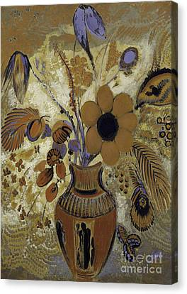 Etruscan Vase With Flowers Canvas Print by Odilon Redon