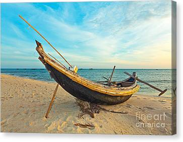 Fisherman Boat Canvas Print by MotHaiBaPhoto Prints