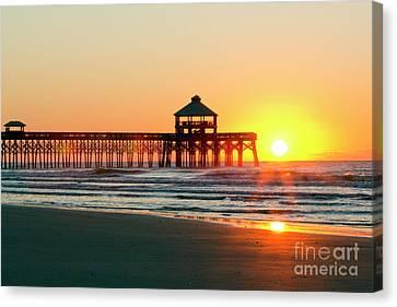 Folly Beach Pier Sunrise Canvas Print by Dustin K Ryan